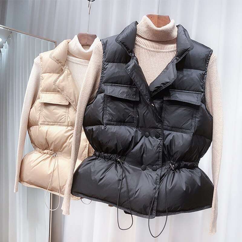 New Light Down Vest Women Short Vest Windproof Lightweight Warm Waistcoat 2021 Female White Duck Down Down Coat Sleeveless