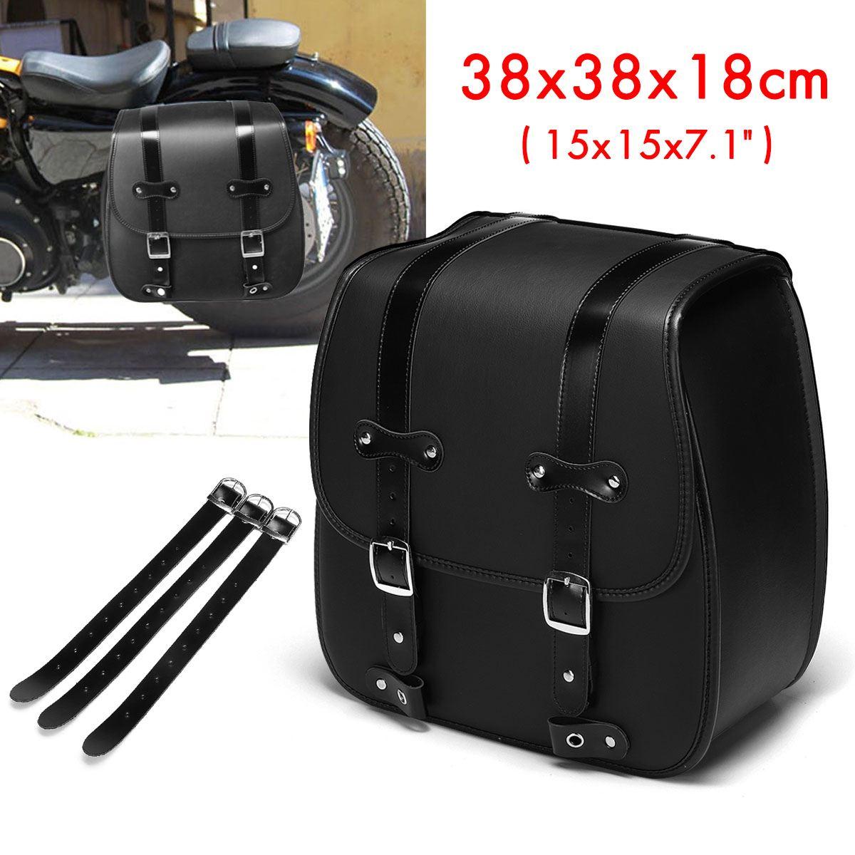 Alforja de la motocicleta 35x35x18 cm, cuero de la PU, herramienta lateral izquierda, equipaje, silla de montar, bolsa negra para Honda/Yamaha/Suzuki