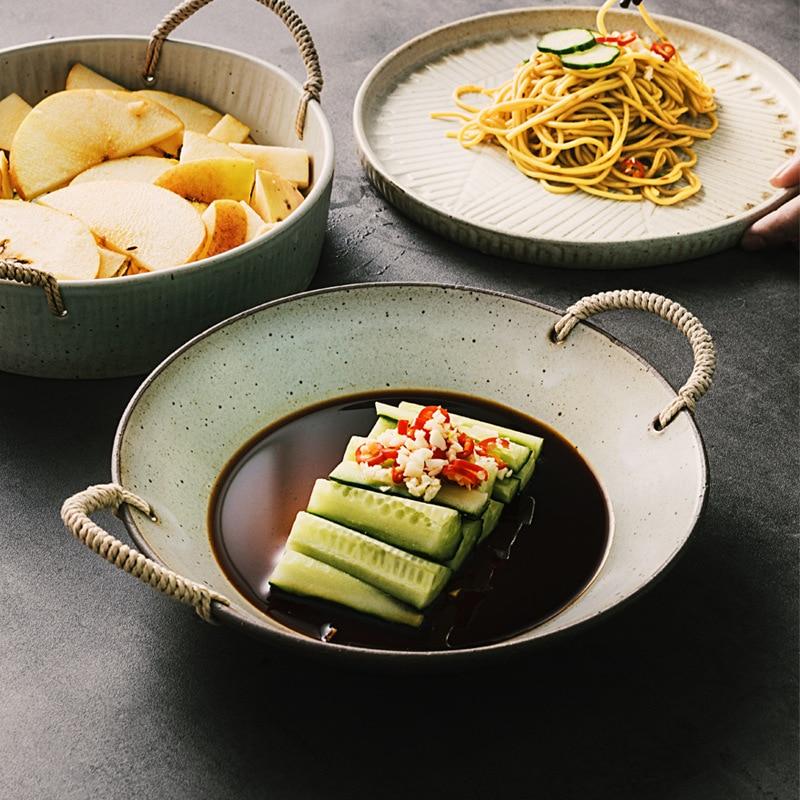 CHYIR اليابانية الرجعية لوحة سيراميك بكلتا الاذنين طبق ستيك السوشي الإبداعية خمر تخزين صينية الخبز وعاء بورسلين المطبخ مجموعة