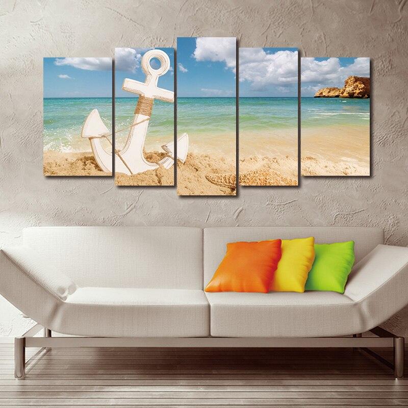 5 paneles moderno ancla con estrella de mar en Playa cuadro sobre lienzo para pared concepto de vacaciones de verano de playa paisaje impresión cartel