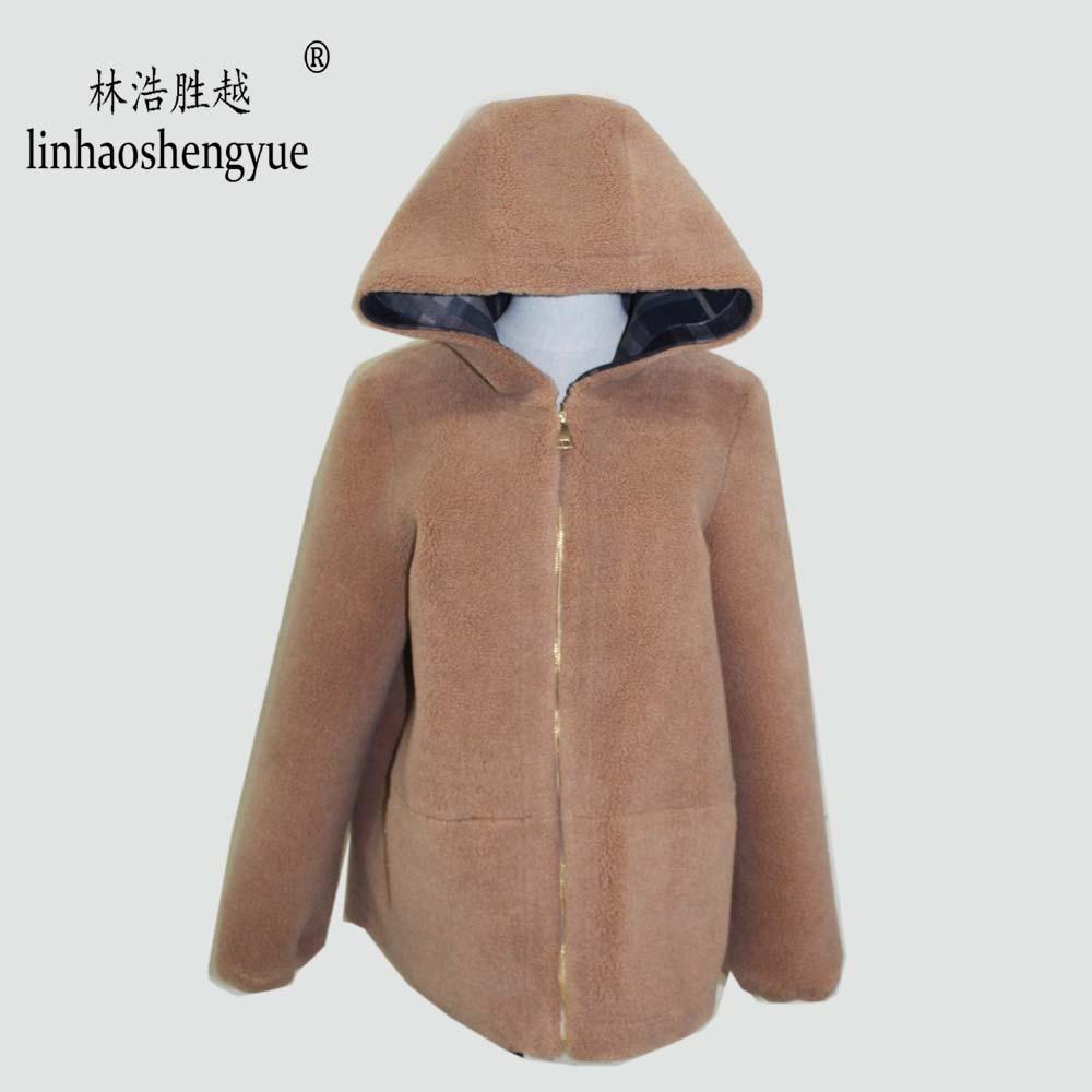 Linhaoshengyue  2020 Spring New Fashion Women Blends Wool Coat Autumn Winter Freeshipping with Hood