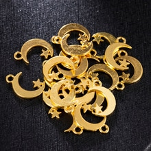 2020 nowy 20 sztuk złoty półksiężyc i gwiazda uroku wisiorek dla kolczyki DIY tworzenia biżuterii