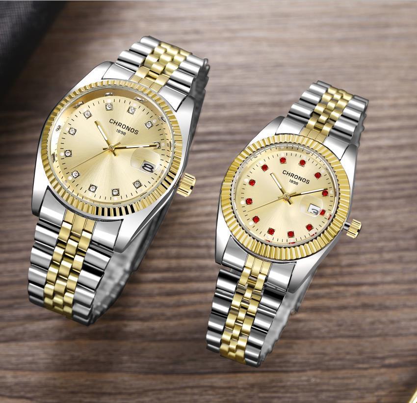 Couple Watch Diamond Women's Watch Luxury Gold LadyLover Stainless Steel Quartz Waterproof Wristwatc