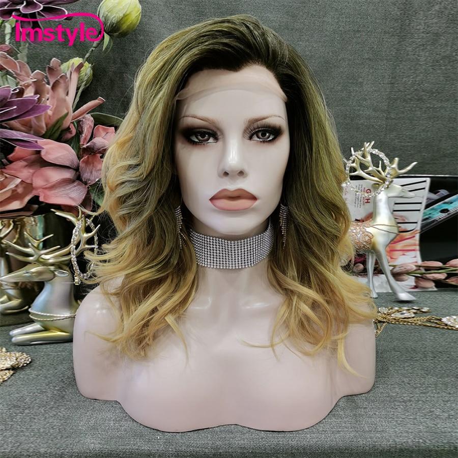 Pelucas Rubio degradado Imstyle para mujeres peluca con malla frontal sintética ondulada de fibra resistente al calor Peluca de diario de raíz oscura