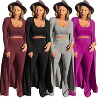 3 piece set women three piece set long sleeve cardigans crop top march pieces sets fall clothes for women 2020 outfits tracksuit