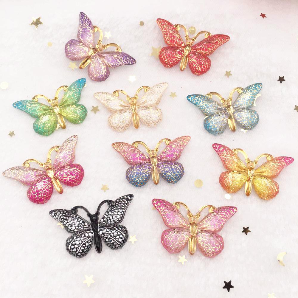 Brilhante colorido borboleta plana volta strass apliques 10 pçs diy 1 buraco grânulo casamento decoração casa artesanato presente de natal ow75