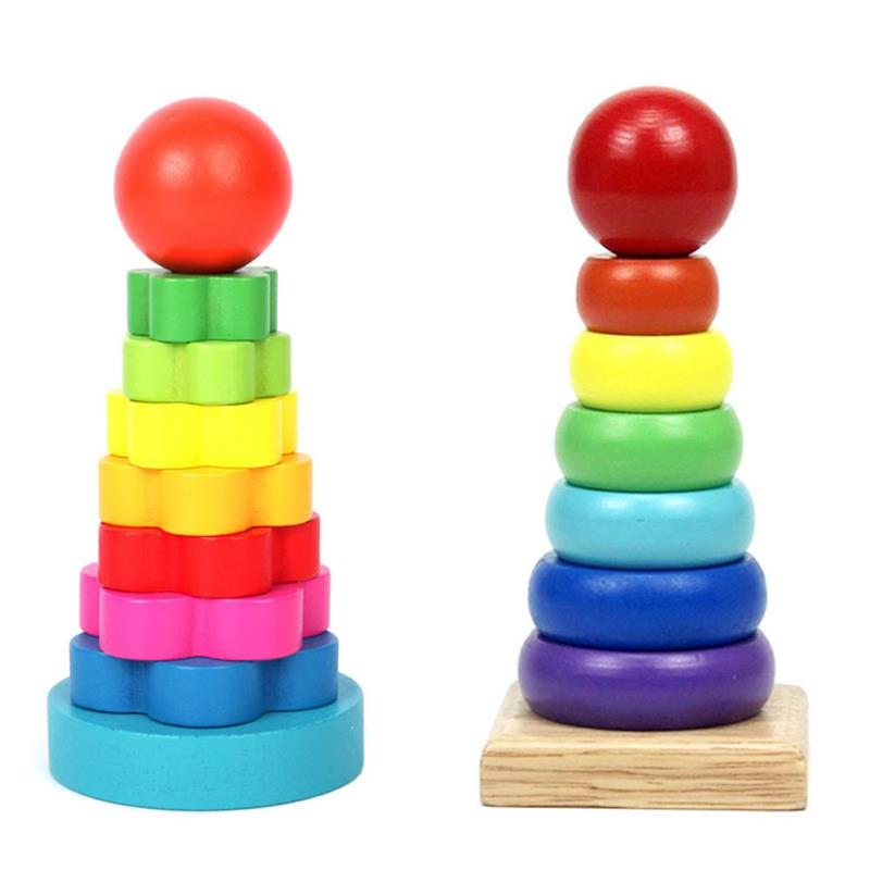 Wooden Stacking Rings for Kids Rainbow Geometric Shape Stacker Children Learning Toys Builing Puzzles Educational Game