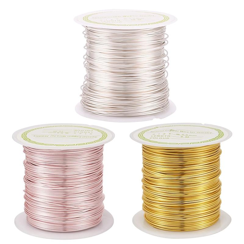 1 rollo 0,3/0,4/0,5/0,6/0,7/0,8mm alambre de cobre rebordear alambre chapado de larga duración para fabricación de joyería DIY pulsera collar