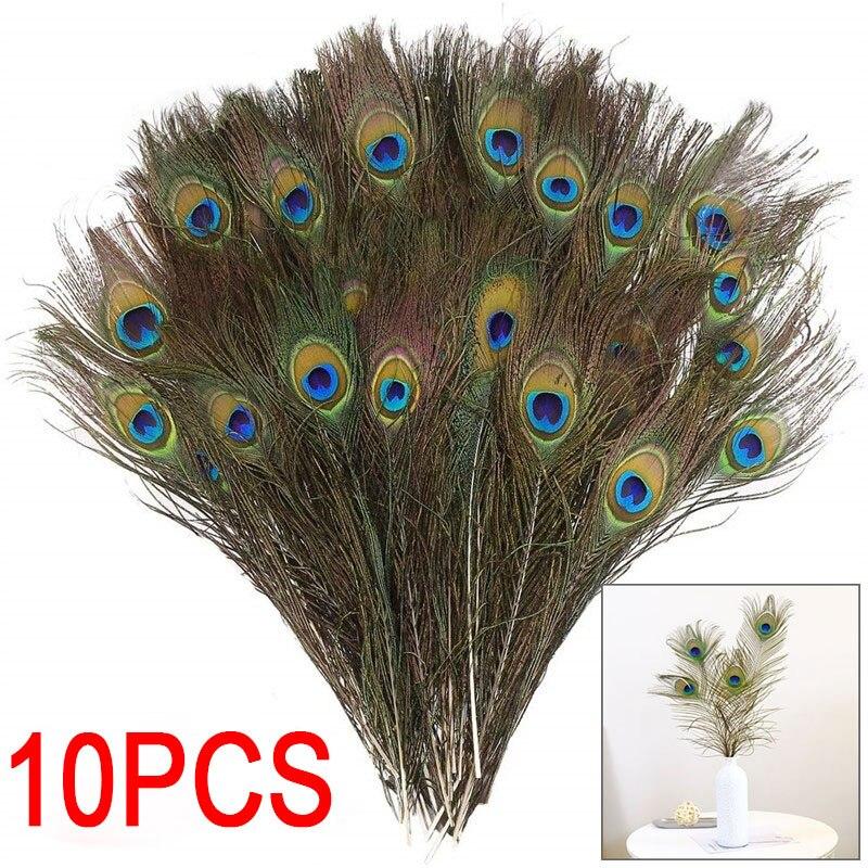 Plumas de pavo real de calidad 10 unids/lote, longitud 25-30 CM hermosa pluma de pavo real natural Diy joyería decorativa Accesorios