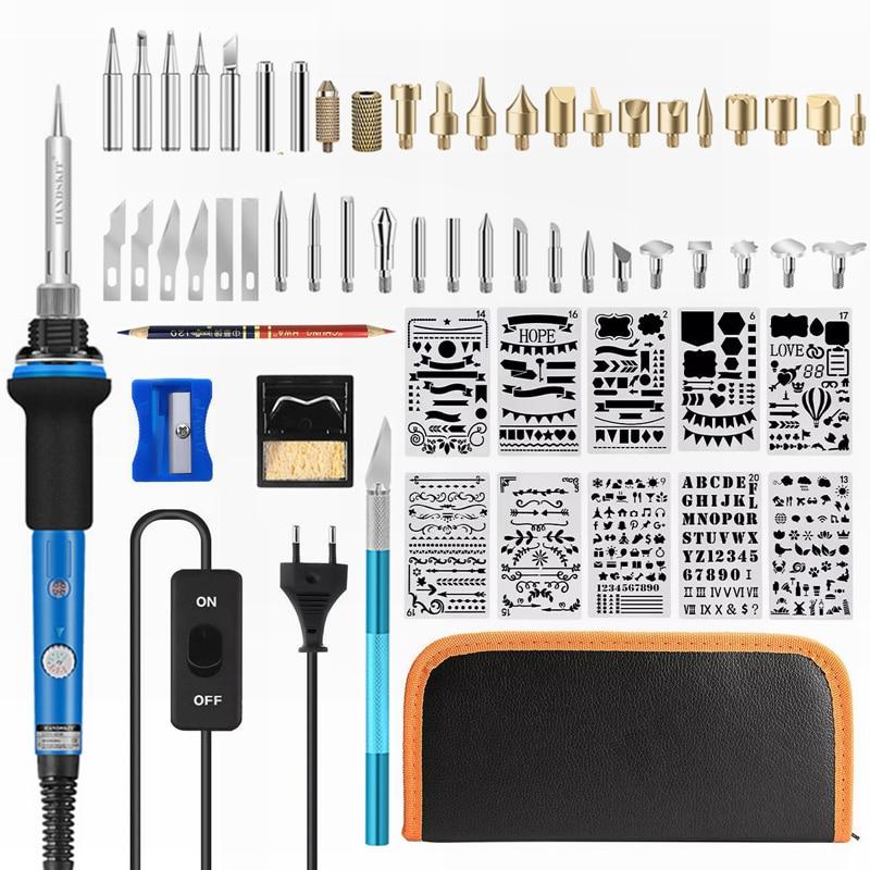 Ebakey-مجموعة لحام الحديد ، 110 فولت/220 فولت 60 واط ، قلم لحام كهربائي لحرق الأخشاب
