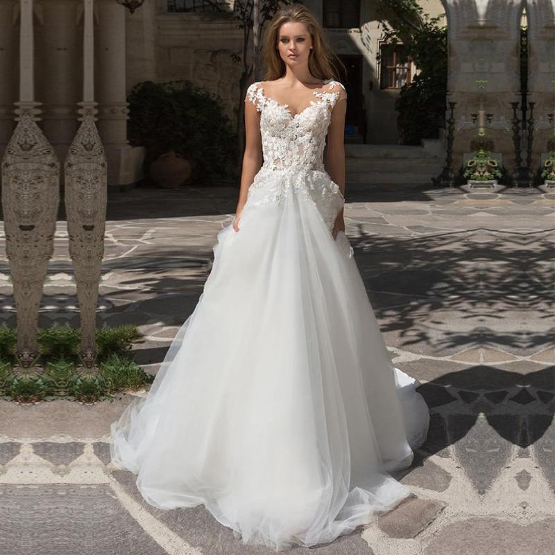 2021 Vestido de Noiva A خط فستان الزفاف أنيقة الأميرة قبعة الأكمام زين الدانتيل فستان عروس فستان زفاف رداء دي ماري