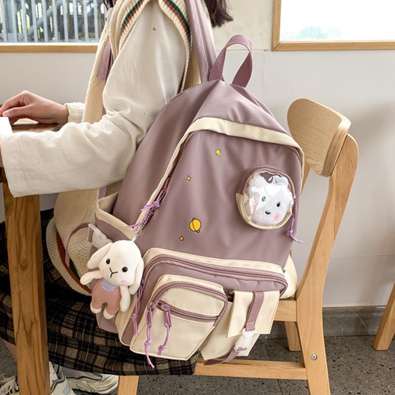 Модный женский рюкзак ALLKACI, милый нейлоновый школьный ранец, кавайный женский вместительный рюкзак для ноутбука, женский рюкзак для книг, 50