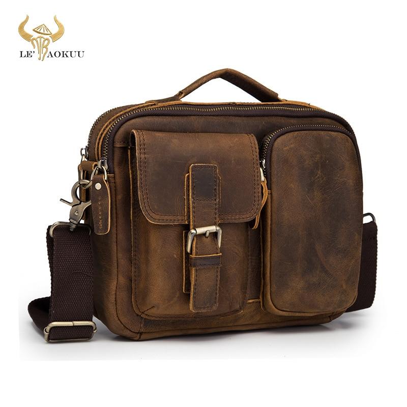 حقيبة كتف جلدية أصلية للرجال ، حقيبة كتف عصرية ، 9 بوصات ، حقيبة حمل Mochila 036-c