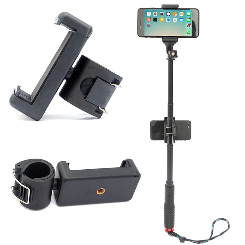Adjustable Selfie Monopod Phone Mount Phone Lock Clip Holder Adapter