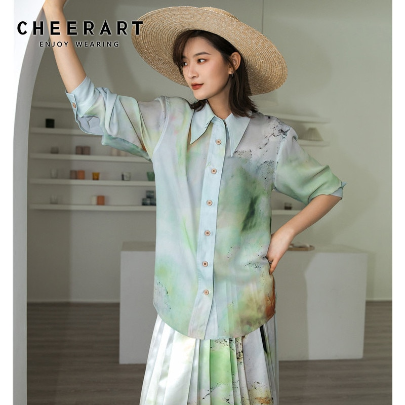 Cheerart tie dye hortelã verde topo blusa de manga longa camisa feminina tinta estética-splashing designer senhoras gola superior camisa 2020