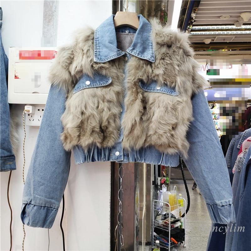 Женская короткая парка с хлопковой подкладкой, утепленное пальто из натурального меха лисы с прострочкой из джинсовой ткани, зима 2021