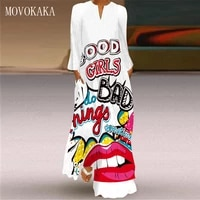 movokaka 3d mouth print autumn dress 2021 white casual breathable long dresses woman elegant girl v nenk long sleeve dress women