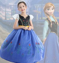 European and American Children's Clothing New Frozen Anna Princess Dress Girl's Dress Halloween Costume a Generation of Hair