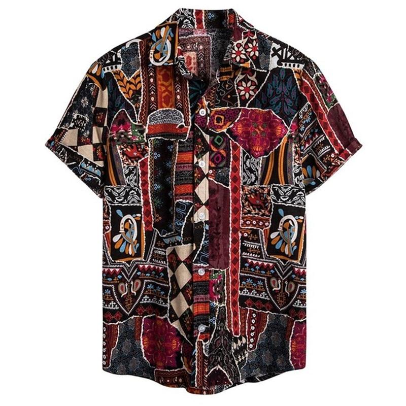 NOVEDAD DE VERANO 2020 en camisas de manga corta de estilo playero para hombre, camisa blusa holgada informal hawaiana con estampado de flores para hombre FM049
