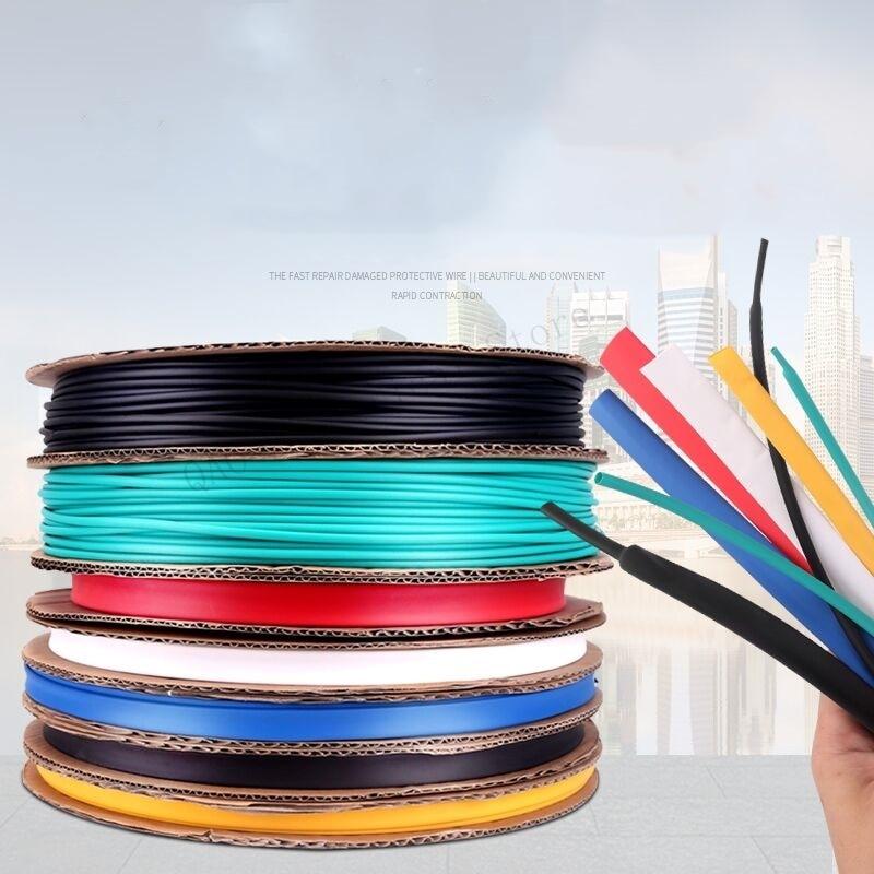 5mm 100meter/lot 7 Colors Cable Sleeve Shrinkage Ratio 2:1 Shrink Wrap Shrink Tube Heat Shrink Tubing Tube Heat Shrink Tubing