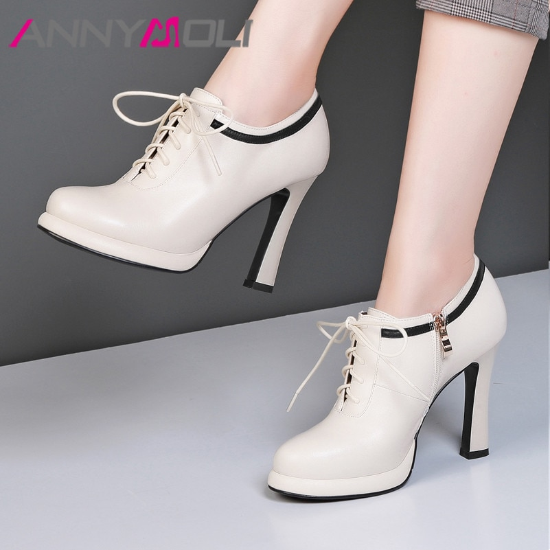 ANNYMOLI عالية الكعب النساء مضخات الطبيعية جلد طبيعي سوبر عالية الكعب أحذية جلد البقر سستة مستديرة حذاء مزود بفتحة للأصابع سيدة حجم 34-39
