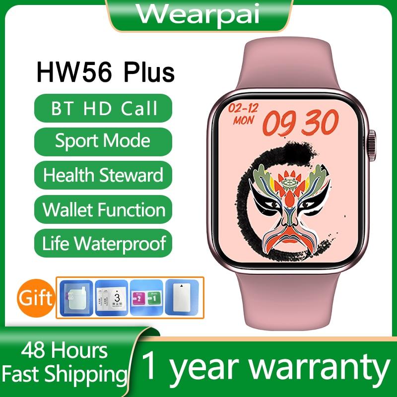 HW56 زائد المرأة Smartwatch سلسلة الساعات الذكية 6 اللاسلكية شحن بلوتوث دعوة سبليت 44 مللي متر ل أندرويد أبل ساعة pk IWO 13