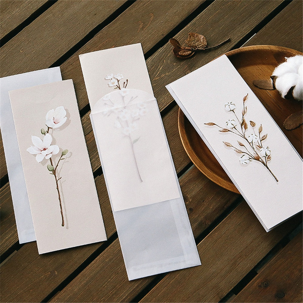 AliExpress - 6pcs/pack Fresh Flower Sweet Translucent Envelopes Invitation Card Paper Handmade Greeting Card Letter Writing Paper Stationery