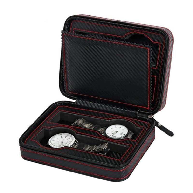 4 Slots Carbon Fibre Watch Box Bag Display Zipper Case Display Storage Portable Travel Holder Case Portable Leather Organizer
