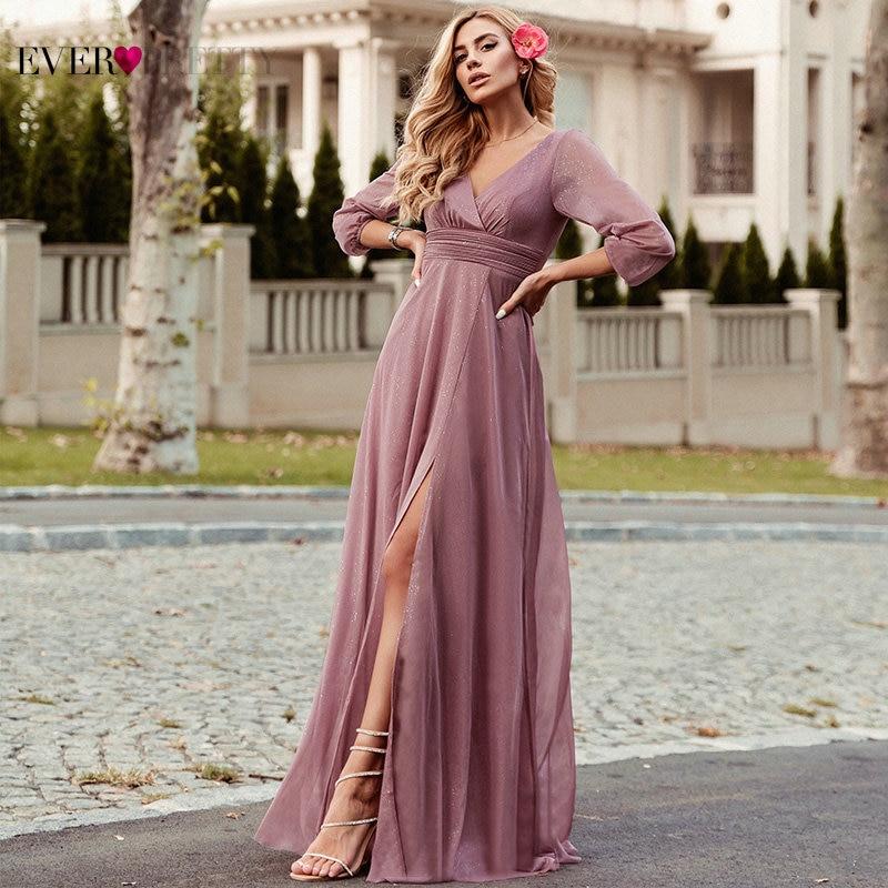 Side Split Evening Dresses Ever Pretty EP00739BD A-Line Ruhced V-Neck Long Sleeve Sparkle Formal Gowns Sukienki Damskie