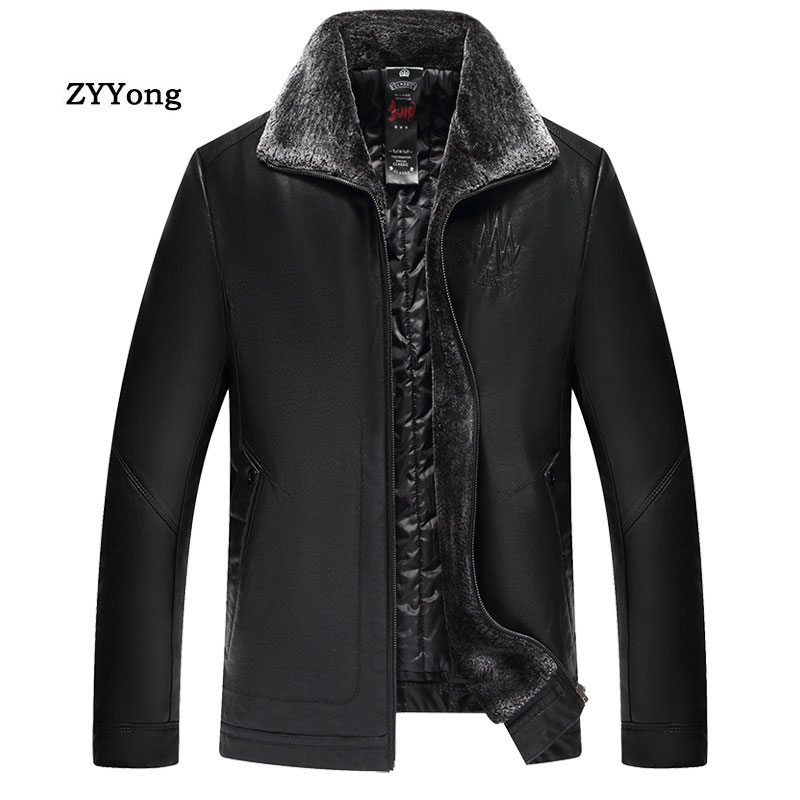 الشتاء الصوف الأسود سترة جلدية الرجال سترة معطف معطف زائد المخملية الدافئة الفراء طوق بو الأعمال عارضة البني أبلى حجم 7XL
