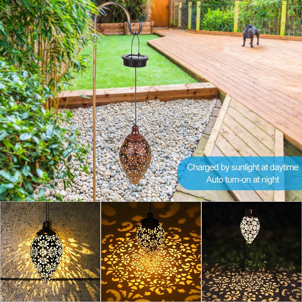 New Waterproof solar garden light LED Lantern Hanging Outdoor solar Lamp Olive Shape Sensitive Sensor Control Solar Powered lamp