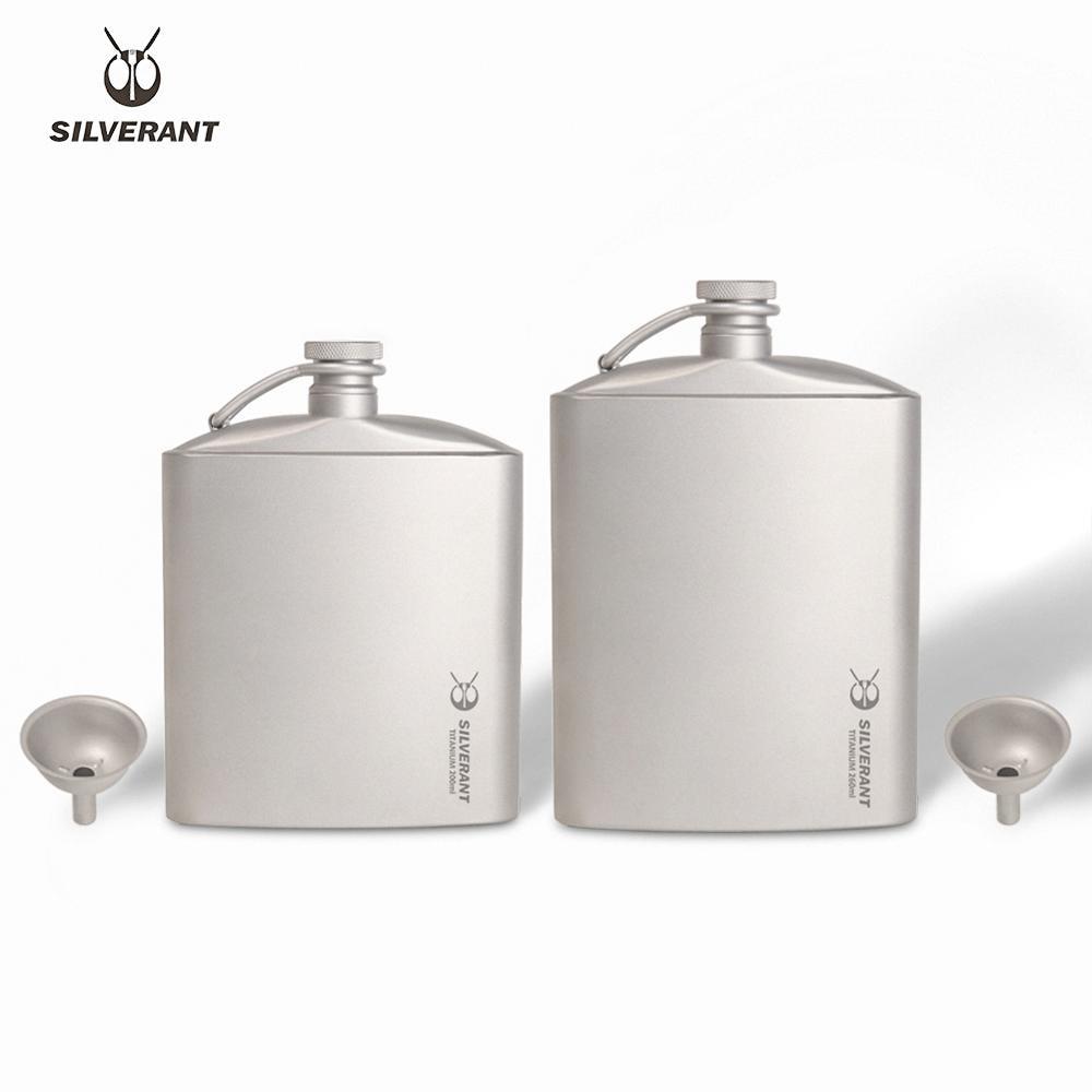 Silverant التيتانيوم قارورة النبيذ الورك قارورة مع غطاء المسمار كليب زجاجة مسطحة الترطيب خفيفة مع قمع تي للمشي في الهواء الطلق