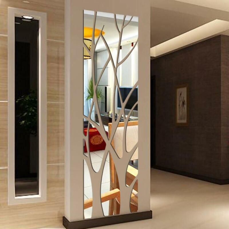 Árvore padrão acrílico espelho adesivos de parede moderno estilo removível decalque árvore arte mural adesivos de parede casa decoração do quarto