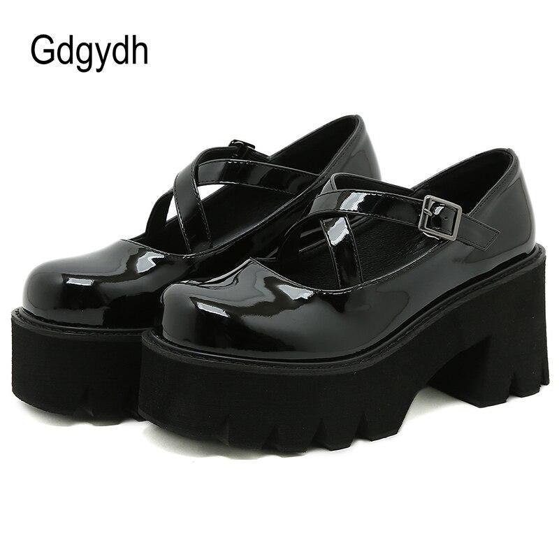 Gdgydh براءات الاختراع والجلود ماري جين أحذية النساء اليابانية منصة عالية الكعب مدرسة كلية أحذية للفتيات عبر حزام مشبك