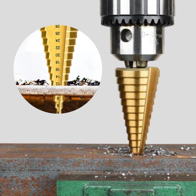 1Pcs 4-32 mm HSS Titanium Coated Step Drill Bit Drilling Power Tools Metal High Speed Steel Wood Hole Cutter Step Cone Drill