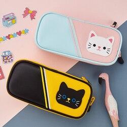 Angoo kitties dos desenhos animados caneta caso saco de lápis gato bonito oxford tecido armazenamento bolsa organizador para papelaria presente da menina escola a6886