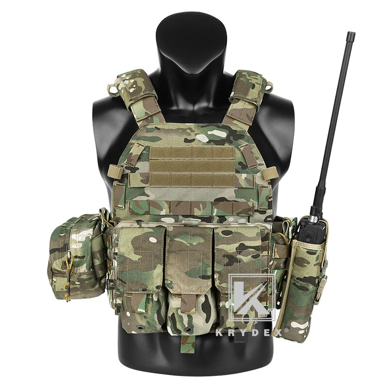 KRYDEX LBT-6094A táctico Modular chaleco Multicam placa portador MOLLE Airsoft caza chaleco batalla W/ Triple Mag/Radio/volquete bolsa