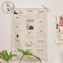 Calendrier 2020 tissu calendrier Collection boîte calendrier carte postale pince ensemble bureau mur calendrier noël cadeau agenda quotidien 2020
