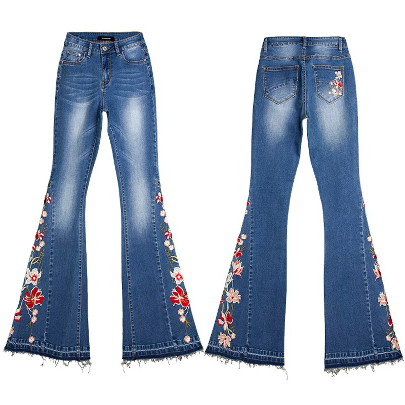 Women's wide-leg pants dark blue 3D three-dimensional embroidery flared feet mopping the floor DSQBRAND jeans fashion and luxury