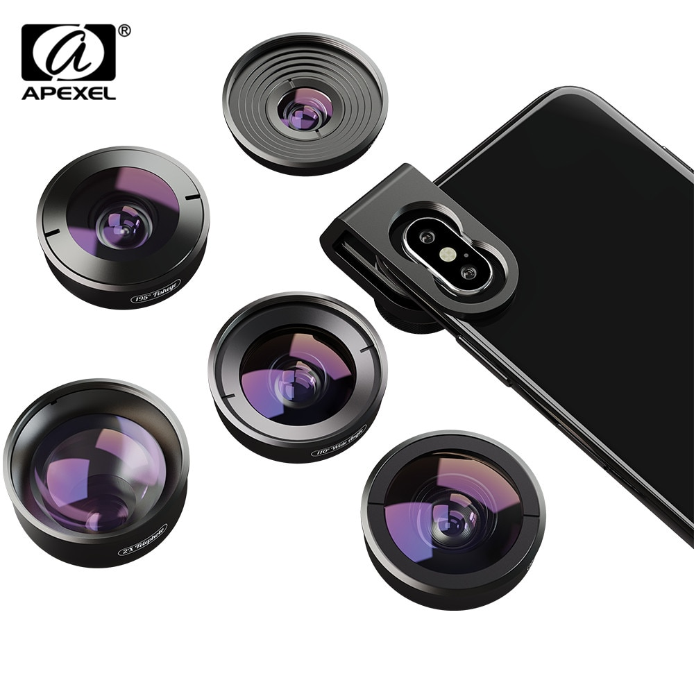 APEXEL 30 Pcs/lot one box 5in1 Mobile Phone Lens Kit HD Fisheye Super Wide Angle Macro Telescope Lens for Samsung iPhone xiaomi