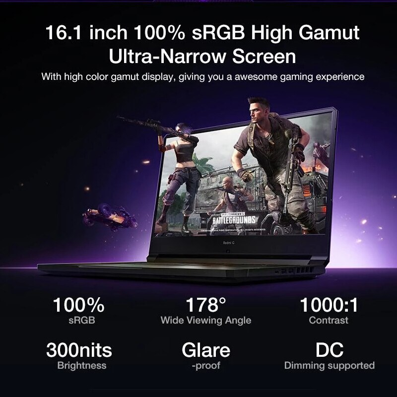 Xiaomi Redmi G Gaming Laptop Computer 16.1 Inch i5-10200H Notebook GTX1650TI /GTX 1650 16GB DDR4 512GB SSD 100%sRGB 60Hz Game PC