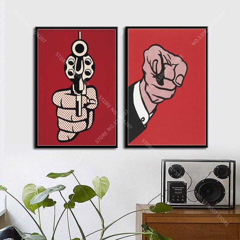 G334 Art Decor Pop Art Kunstwerk Roy Lichtenstein Vinger Gun Muur Canvas Schilderij Zijde Poster Thuis Decoratie