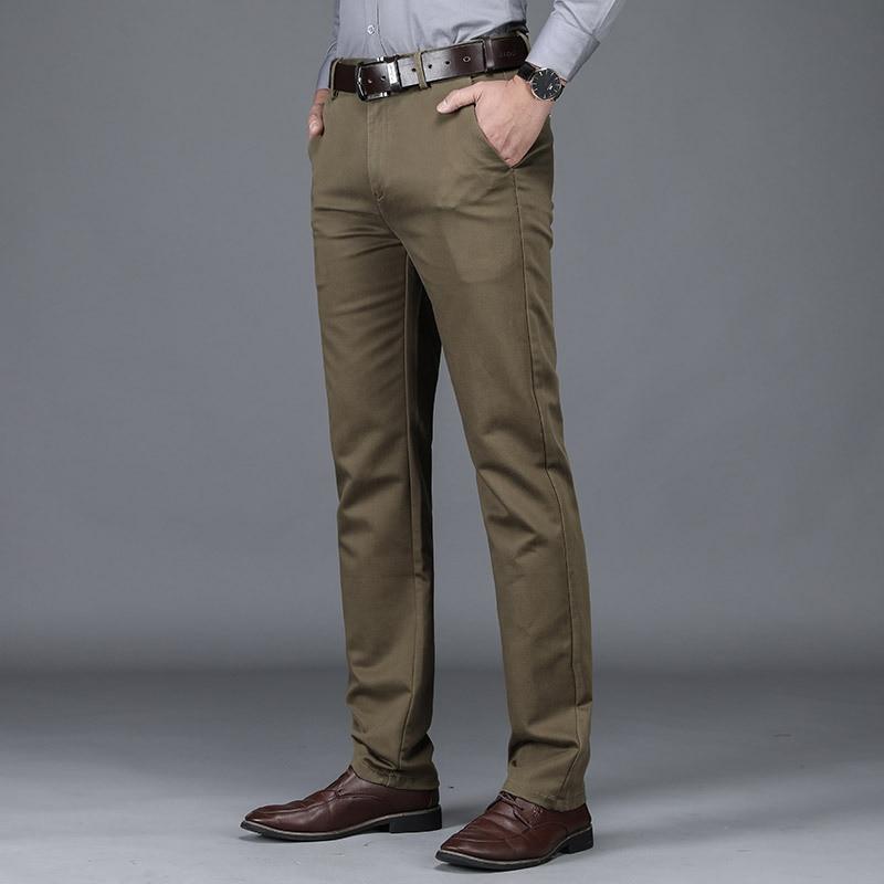 Осенне-зимние повседневные брюки, деловые повседневные брюки, мужские брюки, прямые свободные эластичные утепленные брюки для мужчин средн...