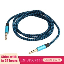 New 6 Colors Nylon Jack Aux Cable 3.5 Mm To 3.5mm Audio Cable Male To Male Gold Plug Car Aux Cord Fo