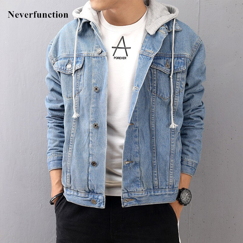 New Fashion men Hooded Loose blue Denim jeans Jackets Streetwear Hip Hop man high quality Casual Cotton Baseball Jacket 4XL 5XL