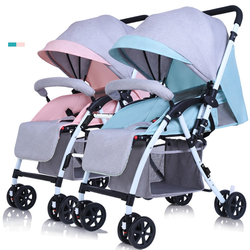 Twin Baby Stroller Lightweight Folding Double Stroller Shock Absorber Baby Stroller High Landscape Can Sit Reclining Stroller