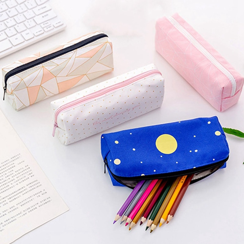 1 Uds estuches de lona para lápices para niñas papelería geometría lápiz bolsa negro pluma caja suministros para estudiantes