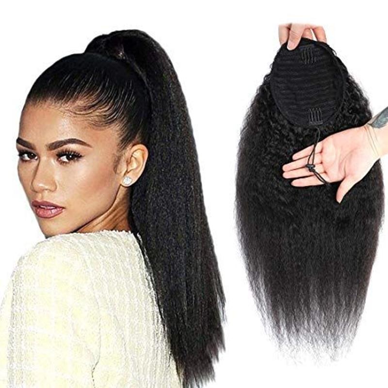 Brasileiro kinky em linha reta rabo de cavalo grampo de cabelo humano em extensões de cabelo remy envoltório em torno do cordão rabo de cavalo cor natural