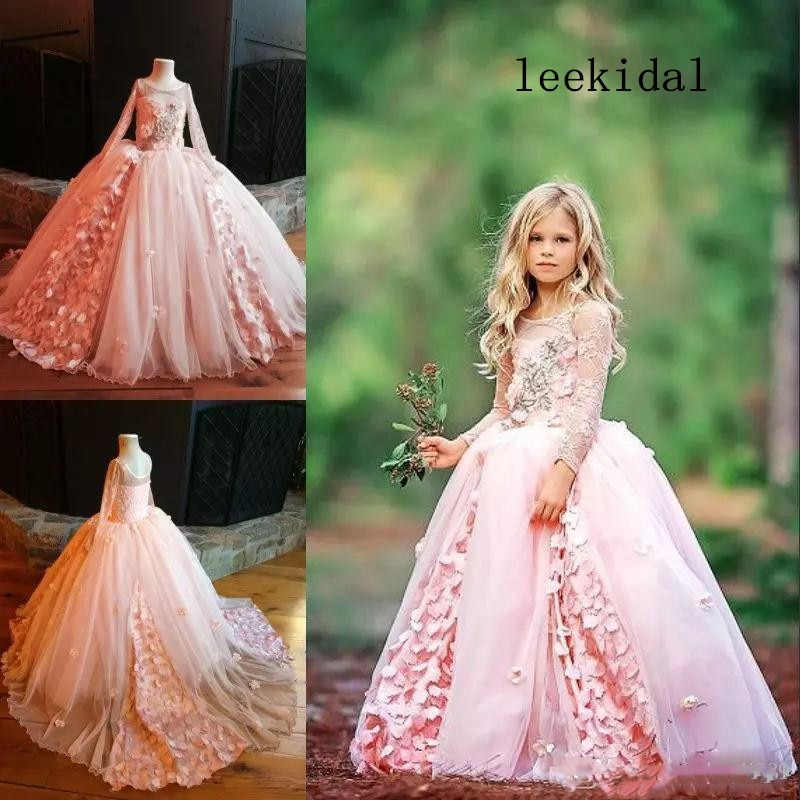 Romantic Pink Feather Flower Girls Dresses For Wedding Cold shoulder 3D Floral Flowers Tulle Princess First Communion Dress