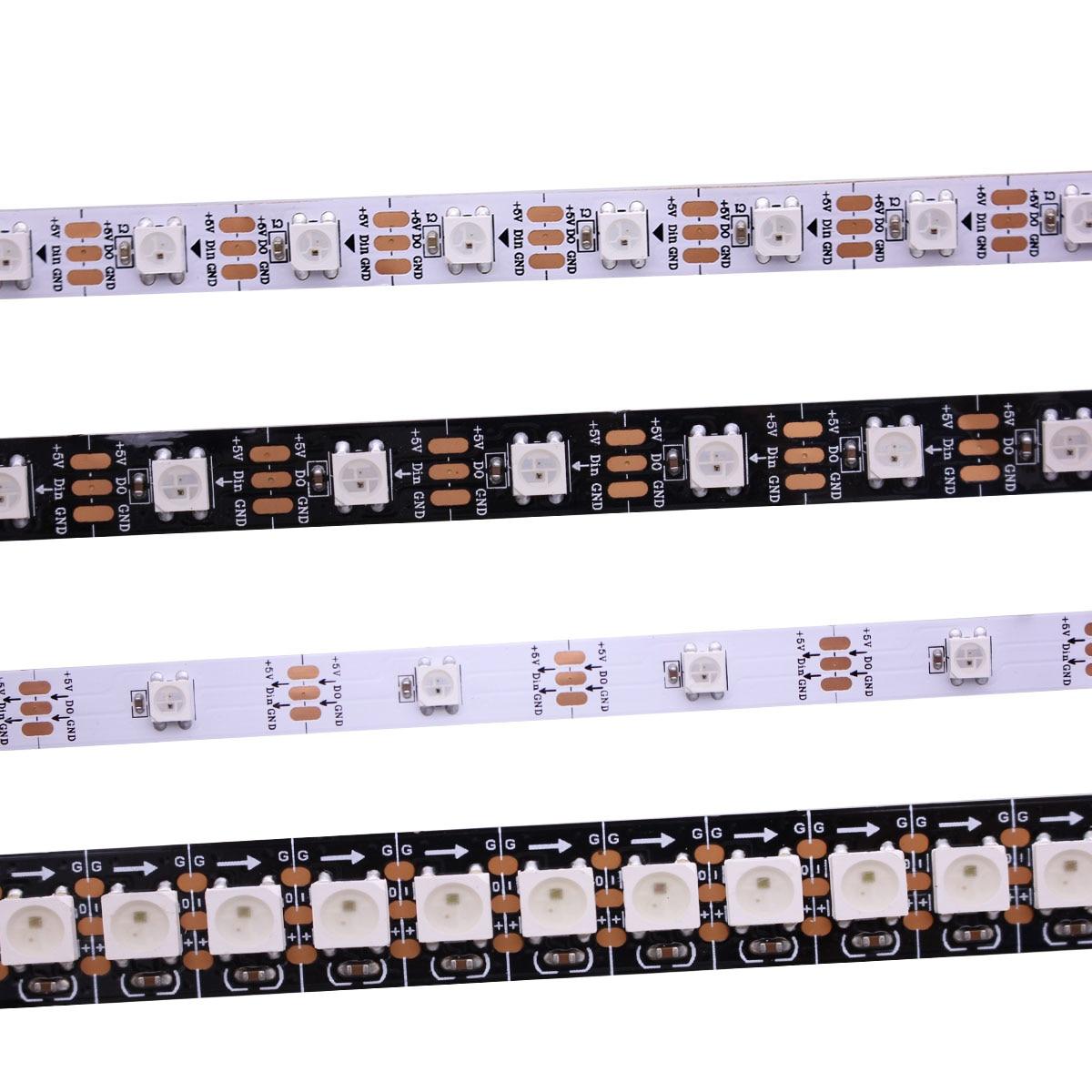 Умная Светодиодная лента WS2812B, 1 м/5 м, черная/белая печатная плата, 30/60/144 светодиодов/м WS2812 IC; WS2812B/m 30/60/144 пикселей, IP30/IP65/IP67 DC5V